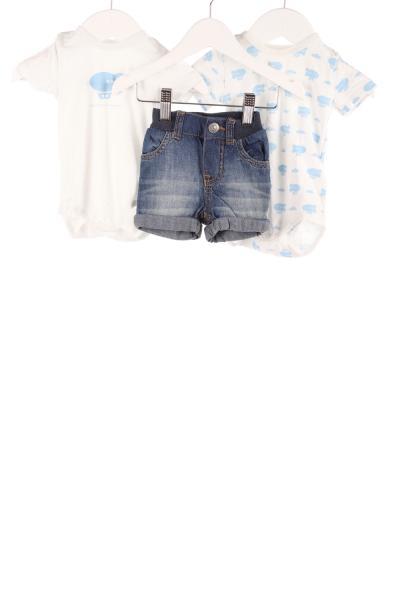 Baby 2er-Pack Kurzarmbodys und Jeansshorts